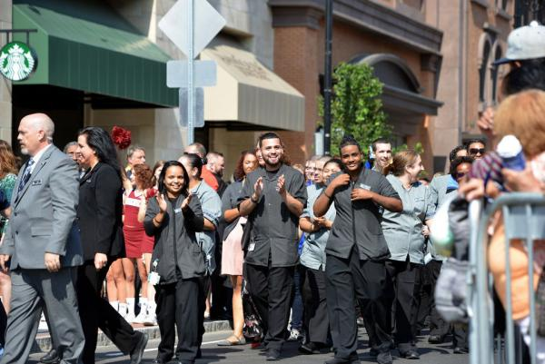 MGM Springfield held its grand opening parade on August 24, 2018. These are MGM Springfield employees in the parade.
