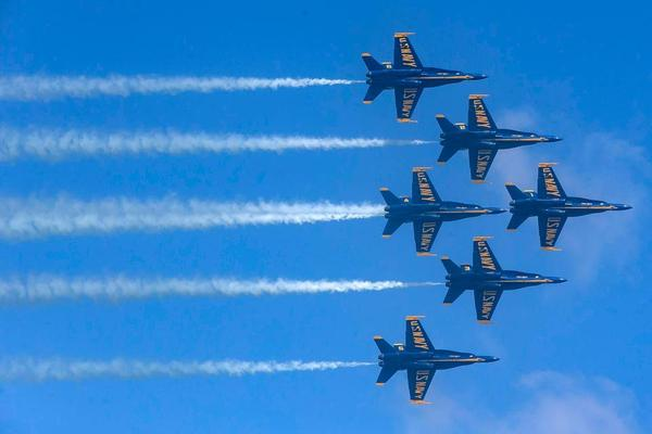 The U.S. Navy Blue Angels fly over Miami Beach during the 2019 Hyundai Air & Sea Show on Saturday, May 25, 2019.
