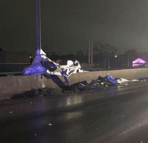 Debris scattered on I-75 after tornadoes touched down Monday night.