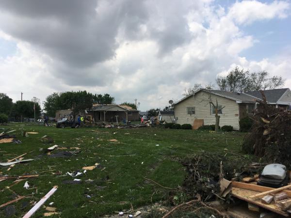 A confirmed tornado leaves behind a path of destruction in Celina.