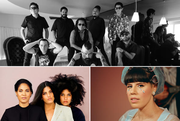 Panteón Rococó (top), Alih Jey (lower right) and Haydee Milaness with Ibeyí (lower left)