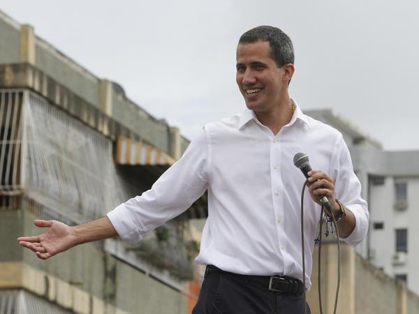 Venezuela's opposition leader and self-proclaimed interim president, Juan Guaidó, addresses a rally in Barquisimeto, Venezuela, on Sunday.