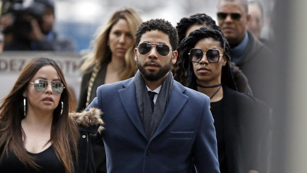 Jussie Smollett arrives at a Chicago courthouse for a hearing in March.