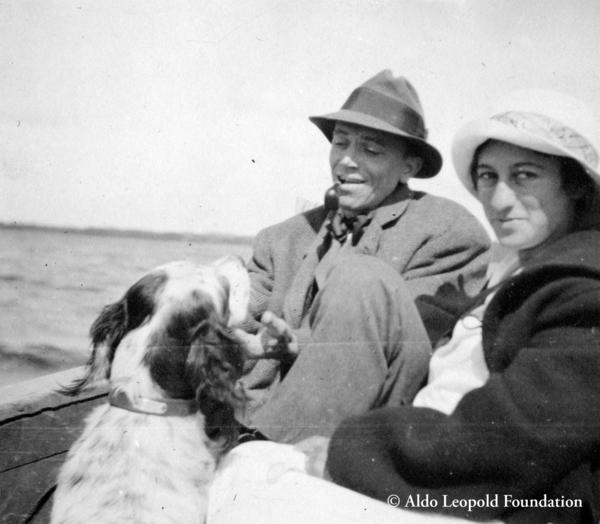 Aldo Leopold with his wife Estella Bergere Leopold and their dog Flick at Les Cheneaux, ca. 1912.