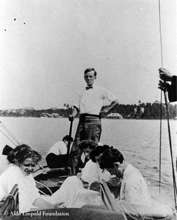 Aldo Leopold and Marie Leopold (front left) in a boat at Les Cheneaux, ca. 1908.