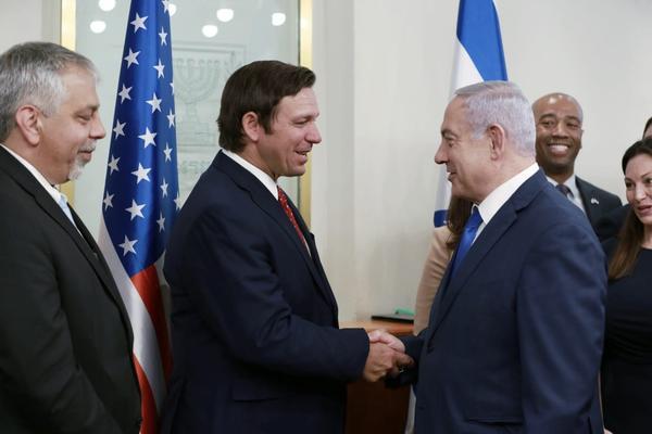Gov. Ron DeSantis meets with Israeli Prime Minister Benjamin Netanyahu in Jerusalem Thursday.