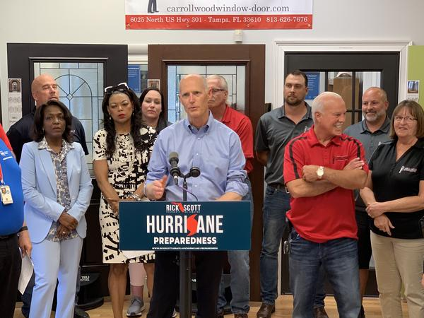 Senator Rick Scott holds a press conference in Tampa, urging people to prepare for hurricane season which starts June 1