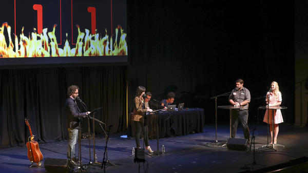 Contestants compete in the final round <em>Ask Me Another</em> at TPAC's Polk Theater in Nashville, Tennessee.