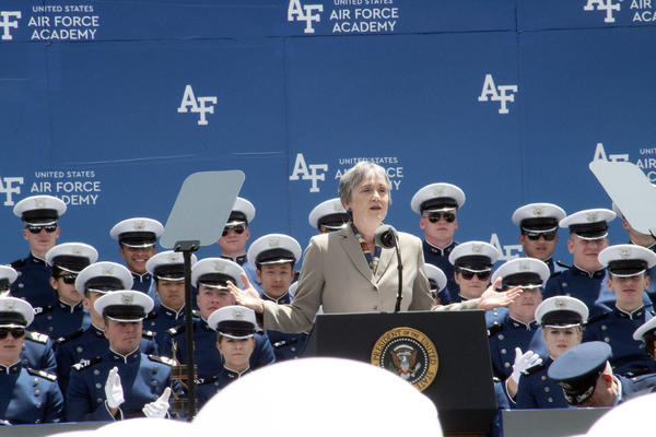 Secretary of the Air Force Heather Wilson addresses cadets.
