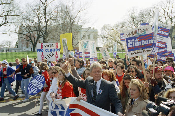 Democratic presidential candidate Bill Clinton marches with abortion-rights supporters past the White House, April 6, 1992. Although many positions vary at the state, local and even lower federal levels, Democrats at the national level have made abortion rights part of their party platform since 1976; Republicans began calling for <em>Roe</em>'s overturn in their platform that same year.