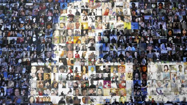 A collage of profile pictures featured on a break room wall at the North Carolina Facebook Data Center in 2012.