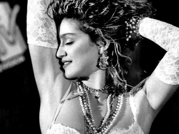 "Madonna at the 1984 MTV Video Music Awards, where her racy performance of ""Like a Virgin"" caused an uproar."