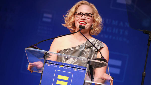 Rep. Kyrsten Sinema, D-Ariz., speaks onstage at The Human Rights Campaign 2018 Los Angeles Gala Dinner at JW Marriott Los Angeles earlier this year. She's running this year for Senate, aiming to be just the second LGBTQ person elected to that body.