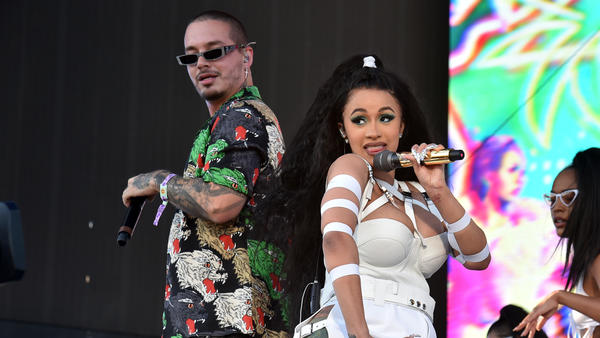 "Cardi B and J Balvin perform ""I Like It"" during the 2018 Coachella Valley Music And Arts Festival in Indio, Calif. in April 2018."