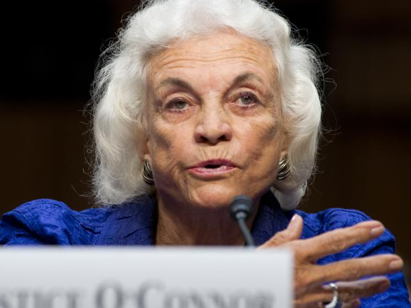 """Former Supreme Court Justice Sandra Day O'Connor says she has been diagnosed with """"dementia, probably Alzheimer's disease."""" She's seen here in 2012."""