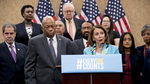 Nancy Pelosi of California, now House speaker, joins fellow Democrats, including Reps. José Serrano of New York and Elijah Cummings of Maryland, as well as other census advocates at a May 2018 press conference in Washington, D.C., about the new citizenship question on the 2020 census.