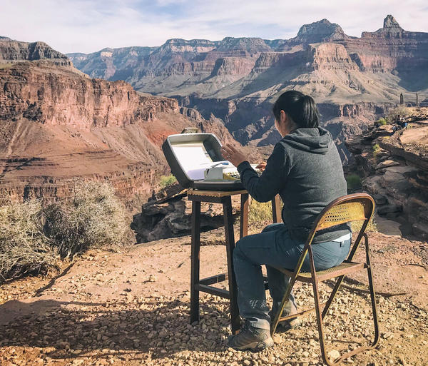 National park ranger Elyssa Shalla placed a $5 typewriter from Goodwill at Plateau Point in the Grand Canyon and invited hikers to share their thoughts.