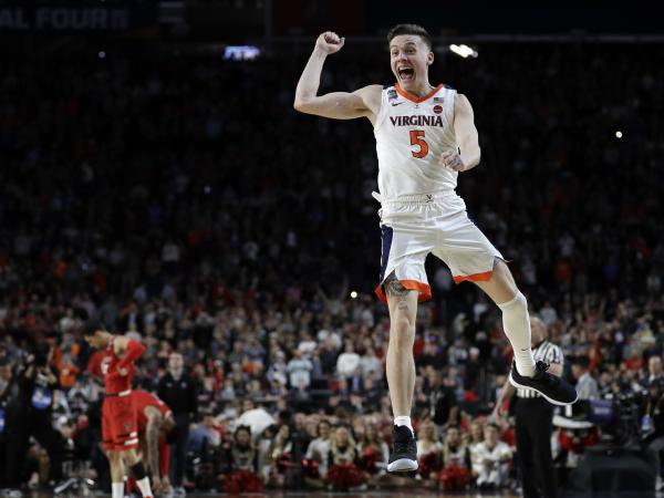 Virginia's Kyle Guy celebrates after helping his team defeat Texas Tech in the NCAA championship tournament. The title game finished in overtime – a first since the University of Kansas beat the University of Memphis in 2008.