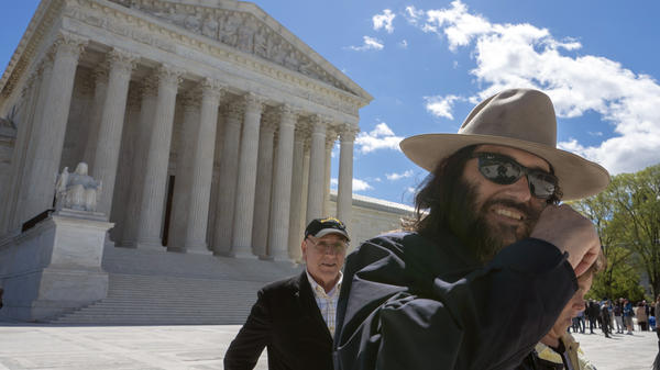 "Los Angeles artist Erik Brunetti, the founder of the streetwear clothing company ""FUCT,"" leaves the Supreme Court after his trademark case was argued on Monday."