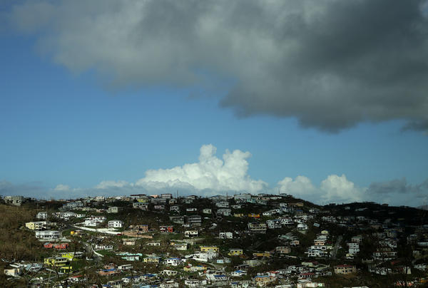 Damaged homes in the U.S. Virgin Islands dot the hillside on Sept. 17, 2017, more than a week after Hurricane Irma made landfall in Charlotte Amalie, St. Thomas.
