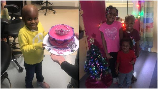 Left: Peyton Poe of Urbana, Illinois, on her 5th birthday in October 2018. Right: Peyton and her siblings, Christmas 2018.