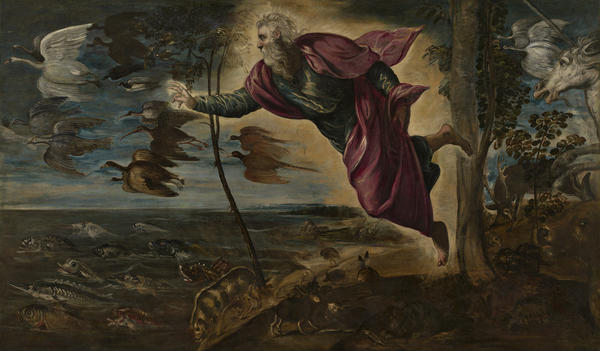 Curators have organized a retrospective at the National Gallery of Art in Washington, D.C., to mark the 500th anniversary of the birth of Italian painter Jacopo Tintoretto. Above Tintoretto's <em>The Creation of the Animals, </em>painted circa<em> </em>1550-1553.