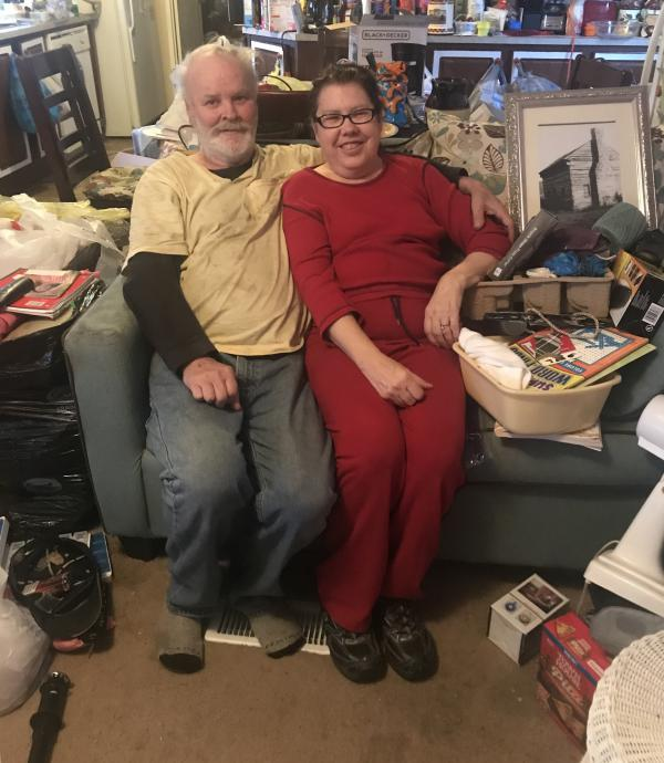 Dennis Pond and his wife Gay pose in their home in Casey County, Kentucky.