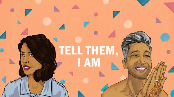 "Illustration of Misha Euceph, host of KPCC's ""Tell Them I Am,"" and Tan France from ""Queer Eye."""