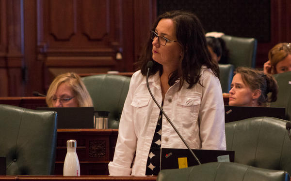 State Rep. Kelly Cassidy, a Democrat from Chicago, listens to House debate in this file photo from May 28, 2019.