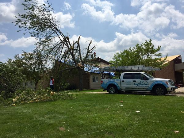 A residential group home for people with intellectual disabilities in Trotwood had its roof blown off. Residents were evacuated overnight Monday.