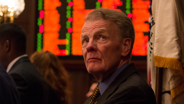 House Speaker Michael Madigan watches the roll call on a state spending bill Friday evening.