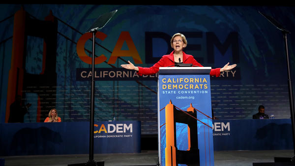 "Sen. Elizabeth Warren, D-Mass., speaks during the California Democrats 2019 State Convention in San Francisco on June 1, 2019. ""Big problems call for big solutions,"" said Warren, in a speech warning against incrementalism."