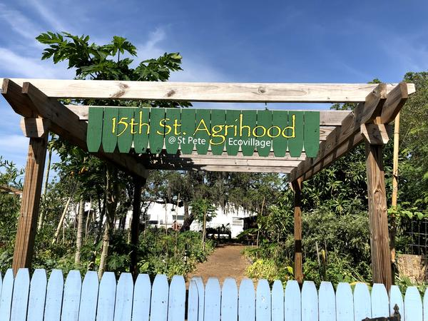 Entry to the St. Petersburg EcoVillage community garden.