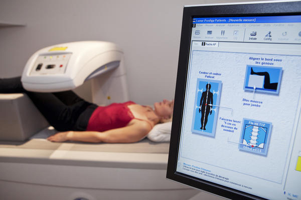 A bone density exam can screen for osteoporosis.