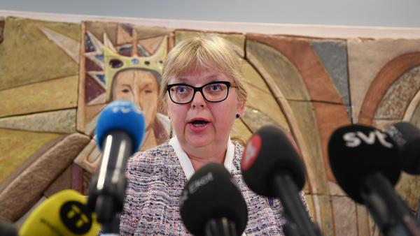Prosecutor Eva-Marie Persson comments on the court's decision not to detain WikiLeaks founder Julian Assange during a news conference Monday in Uppsala, Sweden.