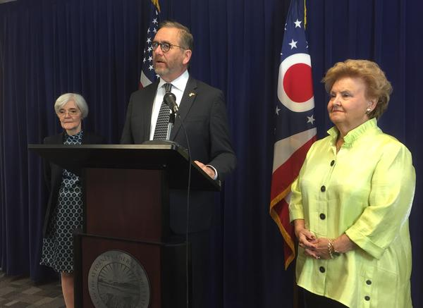 Ohio Attorney General Dave Yost joined by former Ohio attorneys general Nancy Rogers (left) and Betty Montgomery (right) to call for lifting the statute of limitations on rape.