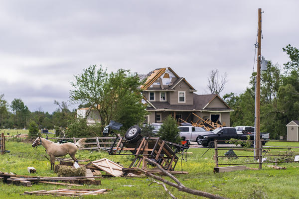 Homes sit severely damaged after a tornado struck the night before on May 29, 2019 in Linwood, Kansas. The Midwest has seen extensive severe weather this spring with widespread flooding and multiple tornadoes.