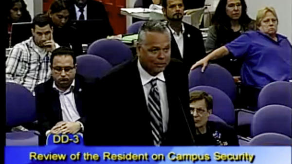 In this 2015 photo, then-school resource officer Scot Peterson spoke at a school board meeting of Broward County in Florida. Peterson was arrested on Tuesday and faces 11 charges in the wake of the Marjory Stoneman Douglas High School shooting.