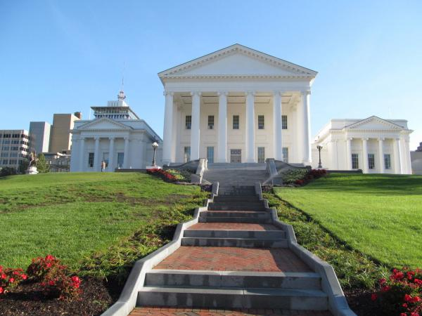Virginia State Capitol, Richmond, Virginia. Virginia Gov. Ralph Northam says he will ask the legislature to consider taking action on background checks and high-capacity magazine bans.