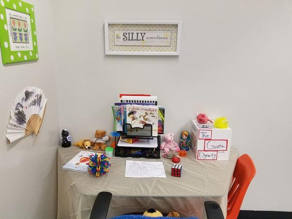 This is the 'Meditation and Silly Corner' in Diane Wolk-Rogers' classroom at Stoneman Douglas. The students can take breaks here if they feel stressed.