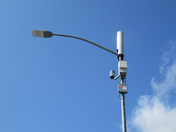 A typical small cell antenna for 5G wireless networks as seen in Eugene, this one not yet operational.