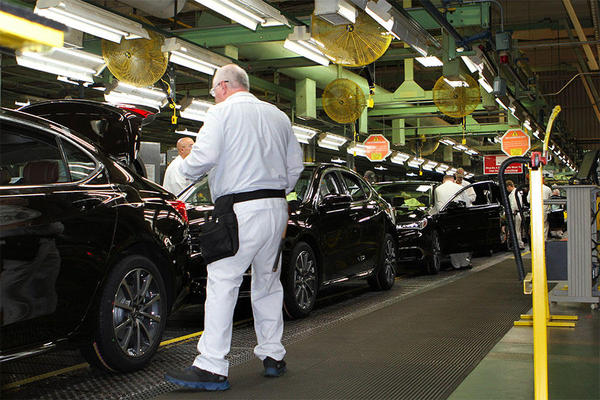 Workers assemble cars at the Honda plant in Marysville, Ohio.  Honda is the largest of the four automakers located here making more than 1.1 million cars each year. Around 20 percent of those components come from Mexico.