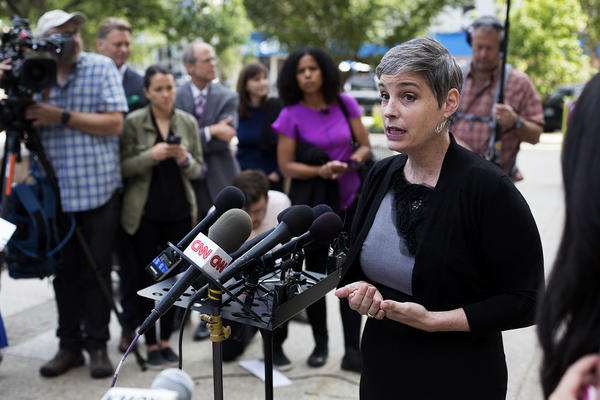 Director of Planned Parenthood Advocates in Missouri M'Evie Mead addresses reporters outside the St. Louis Circuit courthouse on Tuesday.