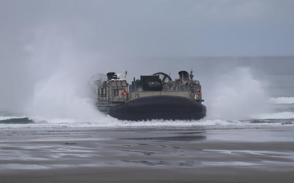 The Navy hovercraft involved in Monday's demonstration are known as LCACs in military lingo.