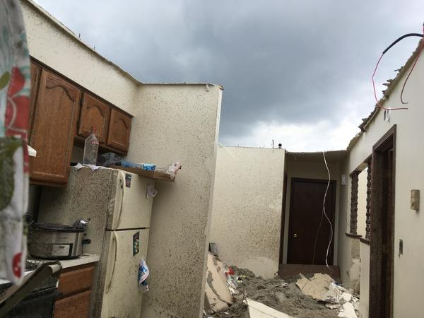 Many roofs were ripped clean off of houses in Celina, leaving the interiors exposed to the elements as new storms brew over Mercer County.
