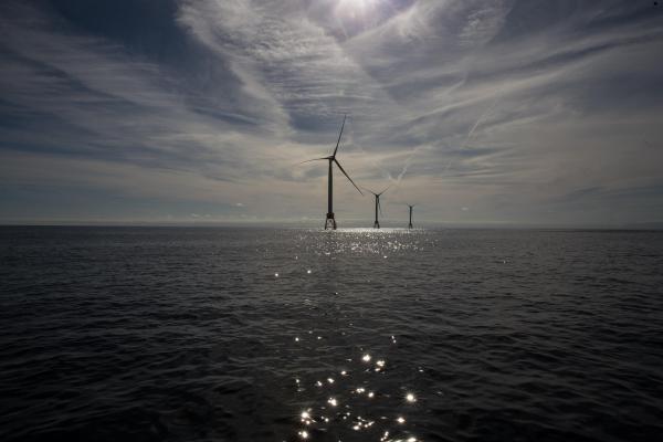 The Block Island Wind Farm off the coast of Rhode Island in October, 2016.