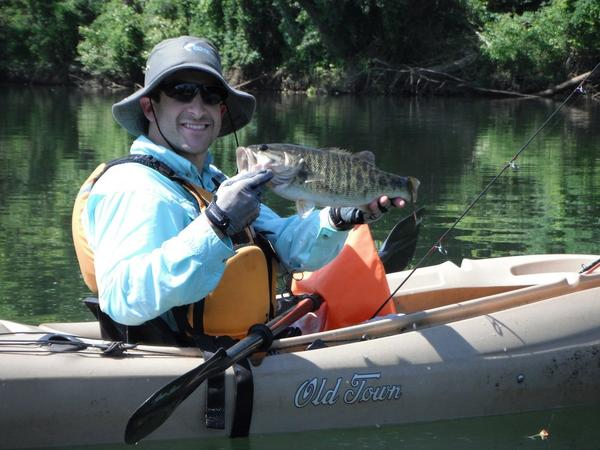 Shoal Bass caught on the Chattahoochee river.