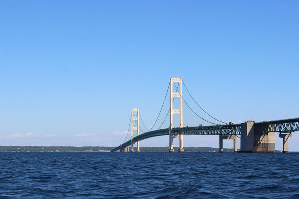 Enbridge Energy's Line 5 oil and natural gas liquids pipelines runs under Lake Michigan at the Straits of Mackinac.