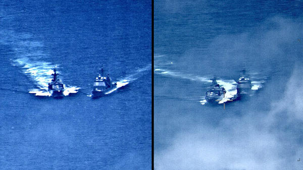 Two images released by the U.S. Navy show the U.S. Navy cruiser USS Chancellorsville (right) and the Russian destroyer Admiral Vinogradov as they nearly collide in the Philippine Sea on Friday.