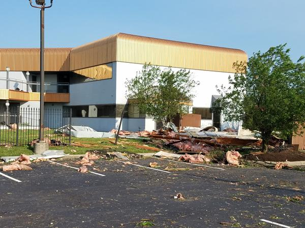 A storm-damaged building on North Fairfield Road in Beavercreek